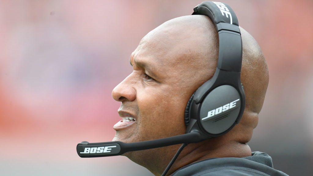 CLEVELAND, OH - OCTOBER 07: Head coach Hue Jackson of the Cleveland Browns looks on during the game in the first half against the Baltimore Ravens at FirstEnergy Stadium on October 7, 2018 in Cleveland, Ohio. (Photo by Jason Miller/Getty Images)