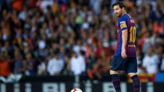 VALENCIA, SPAIN - OCTOBER 07:  Lionel Messi of Barcelona reacts during the La Liga match between Valencia CF and FC Barcelona at Estadio Mestalla on October 7, 2018 in Valencia, Spain.  (Photo by Quality Sport Images/Getty Images)