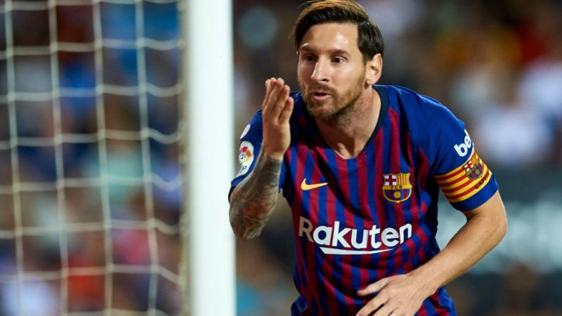 Leo Messi celebrates after scoring his sides first goal during the week 8 of La Liga match between Valencia CF and FC Barcelona at Mestalla Stadium in Valencia, Spain on October 7, 2018.  (Photo by Jose Breton/NurPhoto via Getty Images)