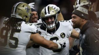 NEW ORLEANS, LA - OCTOBER 08:  Drew Brees #9 of the New Orleans Saints reacts after throwing a 62 yard pass to take the all time yardage record against the Washington Redskins at Mercedes-Benz Superdome on October 8, 2018 in New Orleans, Louisiana.  (Photo by Chris Graythen/Getty Images)