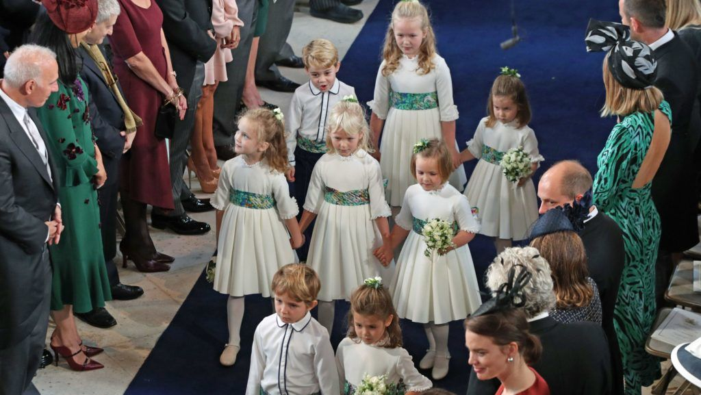 WINDSOR, ENGLAND - OCTOBER 12: The bridesmaids and page boys arrive for the wedding of Princess Eugenie to Jack Brooksbank at St George's Chapel in Windsor Castle on October 12, 2018 in Windsor, England. (Photo by Yui Mok - WPA Pool/Getty Images)