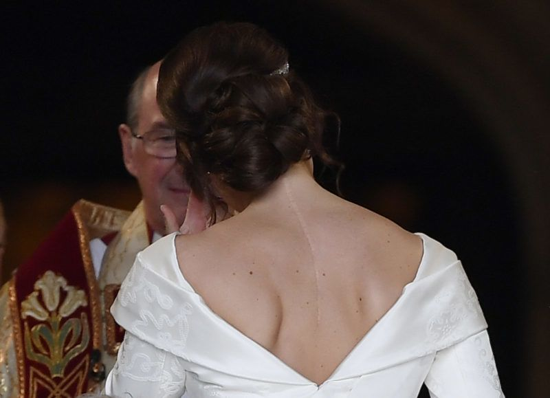 WINDSOR, ENGLAND - OCTOBER 12: Princess Eugenie of York arrives at St George's Chapel for her wedding to Jack Brooksbank in Windsor Castle on October 12, 2018 in Windsor, England. (Photo by Toby Melville - WPA Pool/Getty Images)