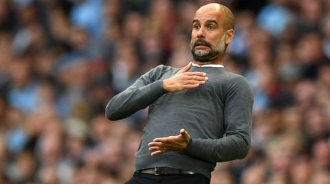 MANCHESTER, ENGLAND - OCTOBER 20:  Josep Guardiola, Manager of Manchester City reacts during the Premier League match between Manchester City and Burnley FC at Etihad Stadium on October 20, 2018 in Manchester, United Kingdom.  (Photo by Shaun Botterill/Getty Images)