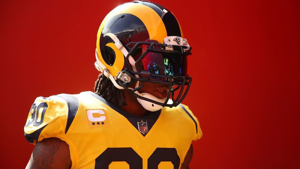 SANTA CLARA, CA - OCTOBER 21: Todd Gurley #30 of the Los Angeles Rams looks on prior to their game against the San Francisco 49ers at Levi's Stadium on October 21, 2018 in Santa Clara, California. (Photo by Ezra Shaw/Getty Images)