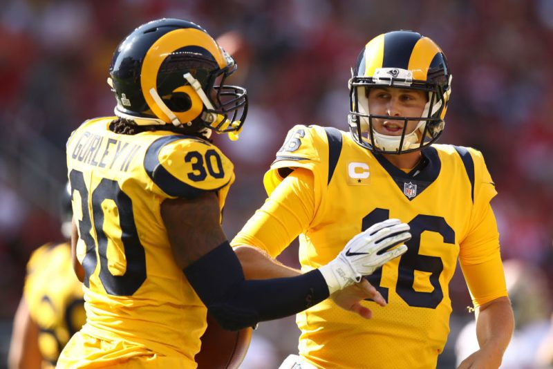 SANTA CLARA, CA - OCTOBER 21: Todd Gurley #30 and Jared Goff #16 of the Los Angeles Rams celebrate after a touchdown against the San Francisco 49ers during their NFL game at Levi's Stadium on October 21, 2018 in Santa Clara, California. (Photo by Ezra Shaw/Getty Images)