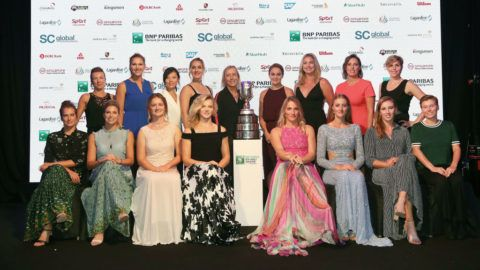 SINGAPORE - OCTOBER 23:  Left to right: Kveta Peschke of the Czech Republic, Nicole Melichar of the United States, Xu Yifan of China, Gabriela Dabrowski of Canada, WTA Legend Martina Navratilova, Ashleigh Barty of Australia, CoCo Vandeweghe of the United States, Andreja Klepac of Slovenia, Maria Jose Martinez Sanchez of Spain, Bottom left to right: Barbora Strycova of the Czech Republic, Andrea Sestini Hlavackova of the Czech Republic, Barbora Krejcikova of the Czech Republic, Katerina Siniakova of the Czech Republic, Timea Babos of Hungary, Kristina Mladenovic of France, Elise Mertens of Belgium and Demi Schuurs of the Netherlands at the Doubles Draw Ceremony at Marina Bay Sands on October 23, 2018 in Singapore.  (Photo by Clive Brunskill/Getty Images)