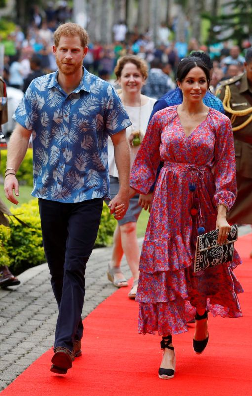 SUVA, FIJI - OCTOBER 24: Prince Harry, Duke of Sussex and Meghan, Duchess of Sussex visit the University of the South Pacific on October 24, 2018 in Suva, Fiji. The Duke and Duchess of Sussex are on their official 16-day Autumn tour visiting cities in Australia, Fiji, Tonga and New Zealand.  (Photo by Phil Noble - Pool/Getty Images)