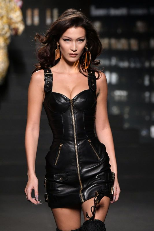 NEW YORK, NY - OCTOBER 24:  Bella Hadid walks the runway during the Moschino x H&M - Runway at Pier 36 on October 24, 2018 in New York City.  (Photo by Mike Coppola/Getty Images)