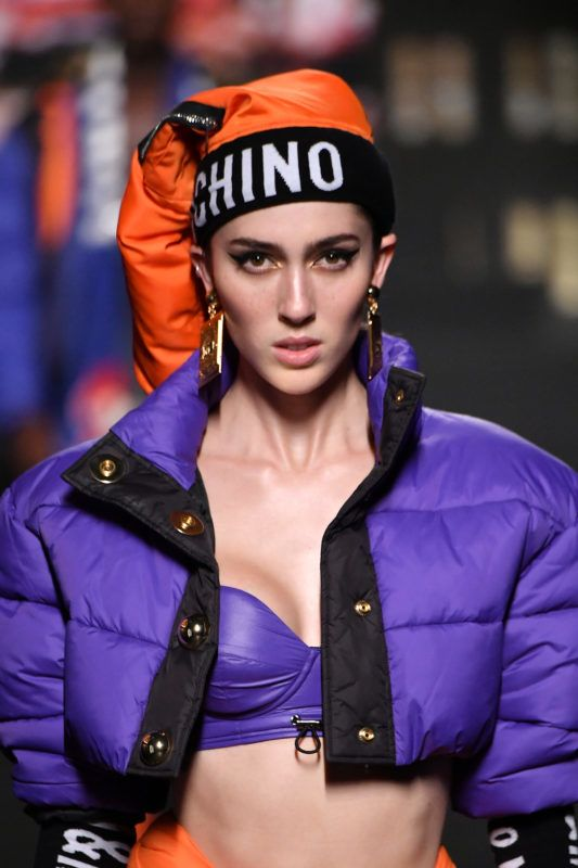 NEW YORK, NY - OCTOBER 24:  A model walks the runway during the Moschino x H&M - Runway at Pier 36 on October 24, 2018 in New York City.  (Photo by Mike Coppola/Getty Images)