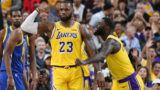 LAS VEGAS, NEVADA - OCTOBER 10:  LeBron James #23 and Lance Stephenson #6 of the Los Angeles Lakers celebrate after James made a shot against the Golden State Warriors and was fouled during their preseason game at T-Mobile Arena on October 10, 2018 in Las Vegas, Nevada. The Lakers defeated the Warriors 123-113. NOTE TO USER: User expressly acknowledges and agrees that, by downloading and or using this photograph, User is consenting to the terms and conditions of the Getty Images License Agreement.  (Photo by Ethan Miller/Getty Images)