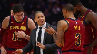 DETROIT, MI - OCTOBER 25:  Head coach Tyronn Lue of the Cleveland Cavaliers talks with George Hill #3 Cedi Osman #16 and Tristan Thompson #13 while playing the Detroit Pistons at Little Caesars Arena on October 25, 2018 in Detroit, Michigan. Detroit won the game 110-103. NOTE TO USER: User expressly acknowledges and agrees that, by downloading and or using this photograph, User is consenting to the terms and conditions of the Getty Images License Agreement. (Photo by Gregory Shamus/Getty Images)