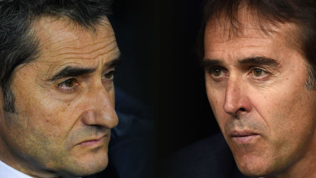 FILE PHOTO (EDITORS NOTE: COMPOSITE OF IMAGES - Image numbers 904100134,1038040072 - GRADIENT ADDED) In this composite image a comparison has been made between Head coach Ernesto Valverde of FC Barcelona  (L) and  Julen Lopetegui, head coach of Real Madrid. Barcelona and Real Madrid  meet in the first El Clásico of the season on October  28, 2018 in Barcelona,Spain. ***LEFT IMAGE*** BARCELONA, SPAIN - JANUARY 11: Head coach Ernesto Valverde of FC Barcelona looks on during the Copa del Rey round of 16 second leg match between FC Barcelona and Celta de Vigo at Camp Nou on January 11, 2018 in Barcelona, Spain. (Photo by David Ramos/Getty Images) ***RIGHT IMAGE*** MADRID, SPAIN - SEPTEMBER 22: Julen Lopetegui, head coach of Real Madrid looks out from the bench before the start of the La Liga match between Real Madrid CF and RCD Espanyol at Estadio Santiago Bernabeu on September 22, 2018 in Madrid, Spain. (Photo by Denis Doyle/Getty Images,)