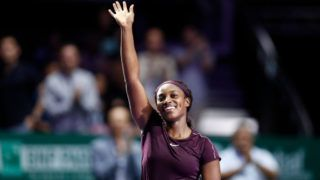 SINGAPORE, SINGAPORE - OCTOBER 27: Sloane Stephens of the United States celebrates after defeating Karolina Pliskova of the Czech Republic during the women's singles semi final match on Day 7 of the BNP Paribas WTA Finals Singapore presented by SC Global at Singapore Sports Hub on October 27, 2018 in Singapore.  (Photo by Fred Lee/Getty Images)