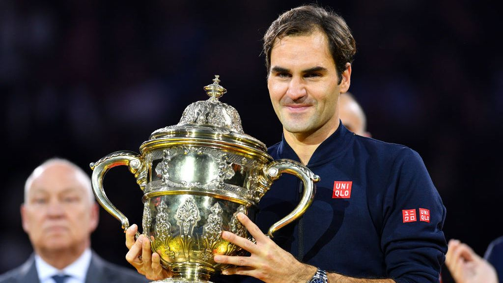 BASEL, SWITZERLAND - OCTOBER 28:  Roger Federer of Switzerland celebrates his victory during the final match of the Swiss Indoors ATP 500 tennis tournament against of Marius Copil of Romania at St Jakobshalle on October 28, 2018 in Basel, Switzerland.  (Photo by Harold Cunningham/Getty Images)