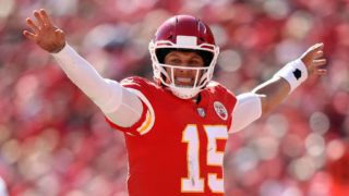 KANSAS CITY, MO - OCTOBER 28:  Quarterback Patrick Mahomes #15 of the Kansas City Chiefs audibles during the game against the Denver Broncos at Arrowhead Stadium on October 28, 2018 in Kansas City, Missouri.  (Photo by Jamie Squire/Getty Images)
