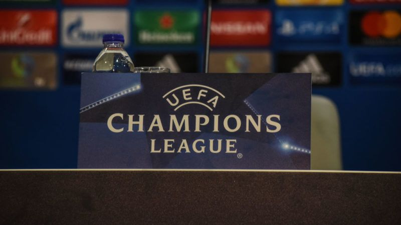 Logo of UEFA before the training and Press Conference of FC Barcelona in Piraeus for the UEFA Champions League match gainst Olympiakos Piraeus, in Piraeus on October 30, 2017(Photo by Wassilios Aswestopoulos/NurPhoto via Getty Images)