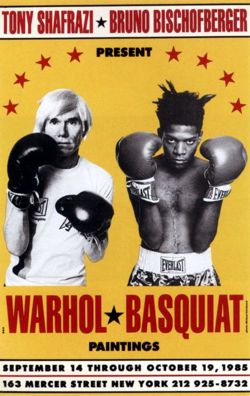 UNSPECIFIED - SEPTEMBER 22:  Exhibition Andy Warhol and Jean Michel Basquiat in New York poster 19octobre 1985 boxing gloves pop art graphics  (Photo by Apic/Getty Images)