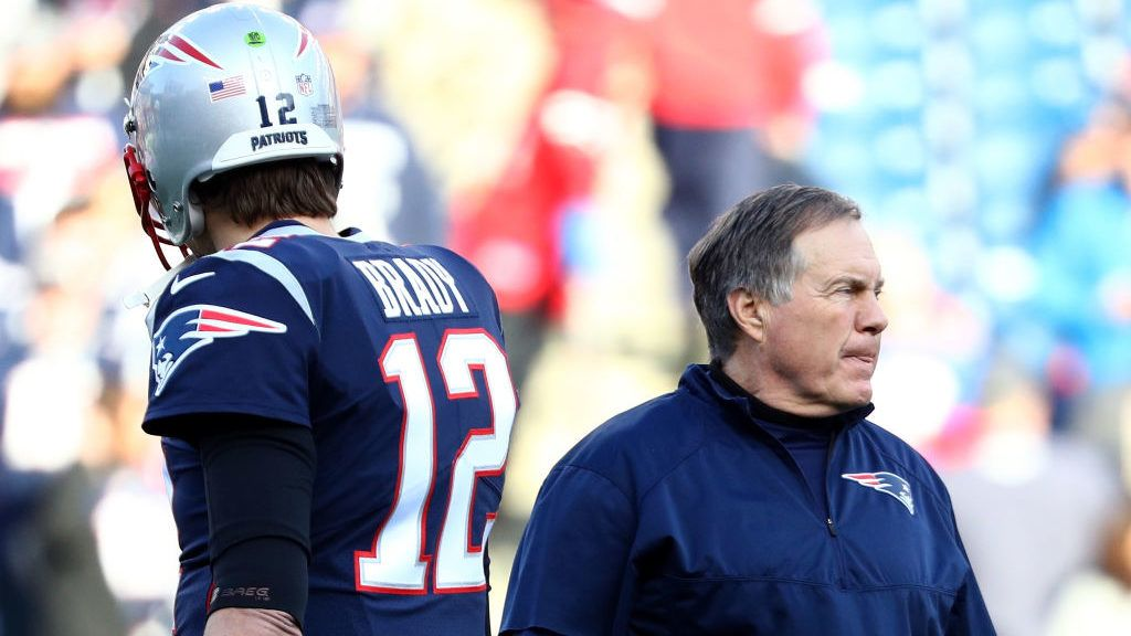 FOXBOROUGH, MA - JANUARY 21:  Tom Brady #12 of the New England Patriots and head coach Bill Belichick look on during warm ups before the AFC Championship Game against the Jacksonville Jaguars at Gillette Stadium on January 21, 2018 in Foxborough, Massachusetts.  (Photo by Maddie Meyer/Getty Images)