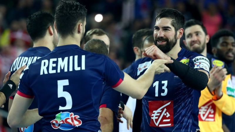 ZAGREB, CROATIA - JANUARY 28:  Nikola Karabatic of France celebrate with tea mate Nedim Remili #5 after the Men's Handball European Championship 3rd place match between France and Denmark at Arena Zagreb on January 28, 2018 in Zagreb, Croatia.  (Photo by Martin Rose/Bongarts/Getty Images)