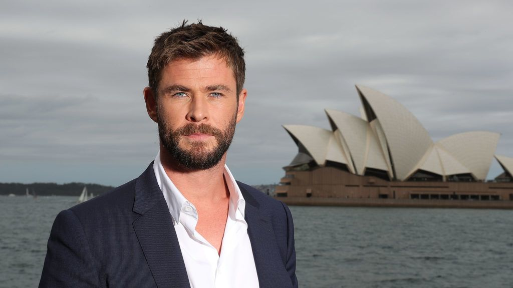 Chris Hemsworth photographed in front of Sydney Opera House whilst in town to promote his new movie Thor: Ragnarok.