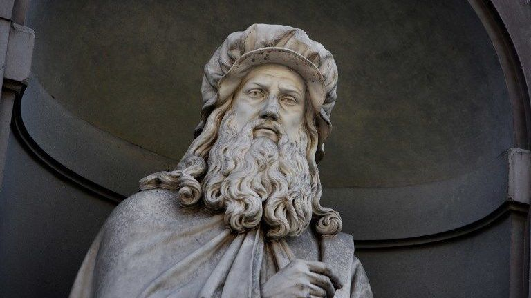 Detail of statue of Leonardo Da Vinci, 16th century, on the facade of the Uffizi Gallery, Florence, Tuscany, Italy, pictured on June 10, 2007, in the morning. This statue of Leonardo da Vinci, 1492-1519, artist, scientist, inventor, is one of a gallery of sculptures of eminent Italian men whose works in the arts and sciences are remembered today. Florence, capital of Tuscany, is world famous for its Renaissance art and architecture. Its historical centre was declared a UNESCO World Heritage Site in 1982. Picture by Manuel Cohen.