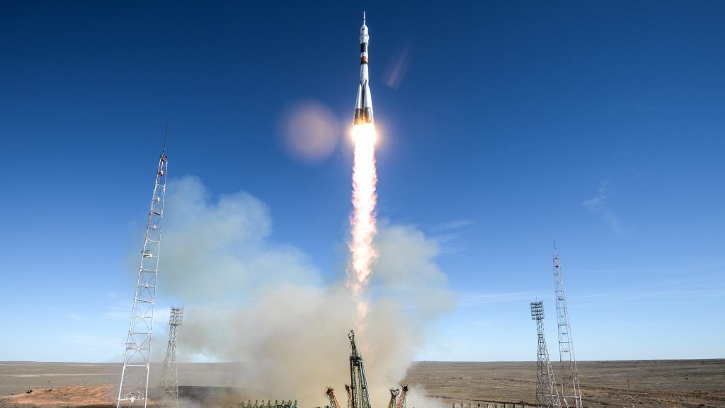 5663995 11.10.2018 The Soyuz MS-10 spacecraft carrying the crew of NASA astronaut Nick Hague, of the United States, and Roskosmos cosmonaut Aleksey Ovchinin, of Russia, blasts off to the International Space Station (ISS) from the launchpad at the Baikonur Cosmodrome, Kazakhstan, October 11, 2018. Alexey Filippov / Sputnik