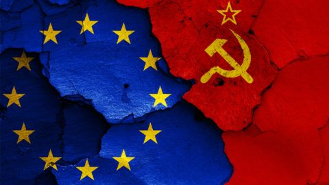 flags of EU and Soviet Union