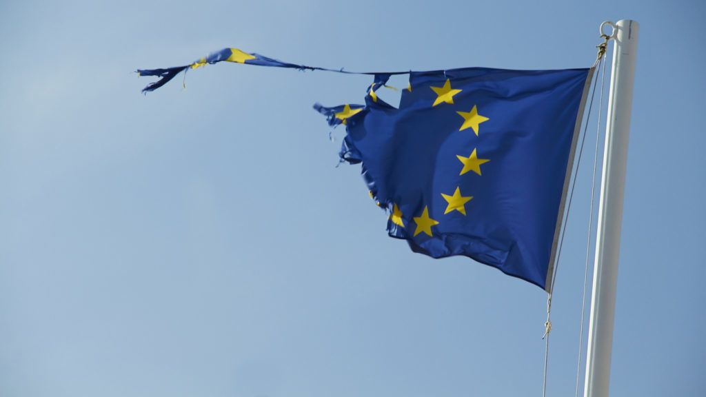 """""""Torn flag of European Union, fluttering on the wind. May be used as concept of disintegration, breakdown, crisis, separation, etc."""""""
