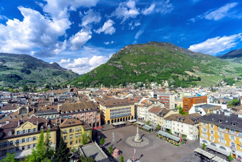 A view from above of the main square of the city of Bolzano. The name of the square is Piazza Walther and Bolzano is the main city of Trentino Alto Adige Region.