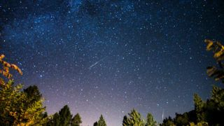 Two meteors from the perseids meteor shower appear on this picture taken on Palomar Mountain in Southern California