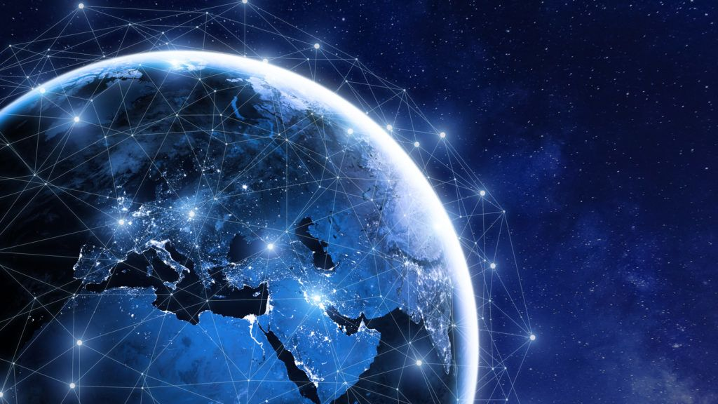 Global communication network around planet Earth in space, worldwide exchange of information by internet and connected satellites for finance, cryptocurrency or IoT technology