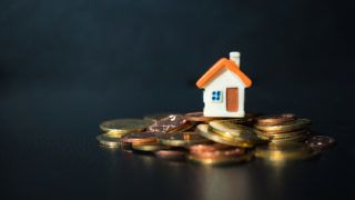 Miniature house on stack coins using as property and business concept