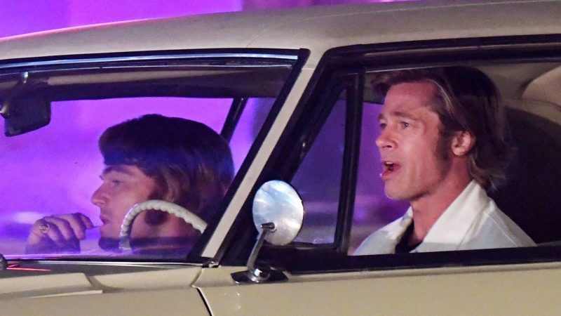 Leonardo DiCaprio sports a pair of tight pink pants while Brad Pitt wears an all white denim suit while filming night scenes with classic cars on the set of Once upon a time in Hollywood at Casa Vega on Ventura Blvd in Sherman Oaks, California on Monday night. Brad and Leo drove in a classic Cadillac while filming the scenes with Quinten Tarantino directing. 08 Oct 2018 Pictured: Brad Pitt and Leonardo Dicaprio. Photo credit: GAC/MEGA  TheMegaAgency.com +1 888 505 6342 October 8, 2018  *** Local Caption *** MEGA288823_009