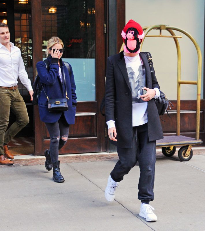 Cara Delevingne covers her face with stuffed MONKEY as she and Ashley Benson step out in NYC. Cara also wore a t-shirt with a print of herself kissing Adwoa Aboah. 19 Oct 2018 Pictured: cara delevingne ashley benson. Photo credit: MEGA  TheMegaAgency.com +1 888 505 6342 October  , 2018 *** Local Caption *** MEGA294642_004