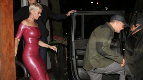 Katy Perry celebrates her 34th birthday with Orlando Bloom at Barton G. restaurant in West Hollywood. Katy is wearing a hot pink skin tight dress as she exits the establishment with Orlando. The duo arrived at 6:15 P.M. and left at 88:45 P.M. after having dinner.
