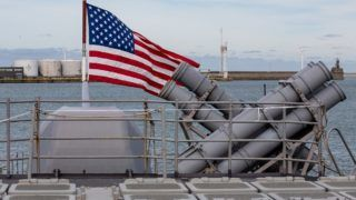 Illustration picture shows the American flag during a visit to the USS Normandy guided-missele cruiser of the US Navy, in the harbor of Zeebrugge, Monday 08 October 2018. BELGA PHOTO KURT DESPLENTER