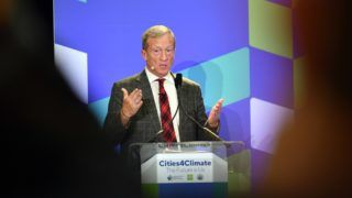 Tom Steyer, Founder & President of NextGen America, speaks during the C40 Cities For Climate The Future Is Us kickoff event at San Francisco's City Hall in San Francisco, California on September 12, 2018. (Photo by JOSH EDELSON / AFP)
