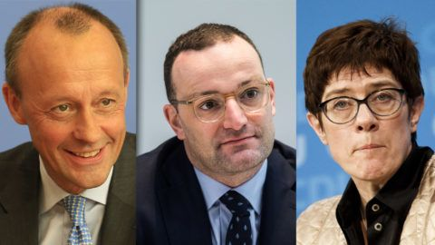 (COMBO) This combination of file pictures taken in Berlin created on October 29, 2018 shows Christian Democratic Union (CDU) members: CDU Secretary General Annegret Kramp-Karrenbauer at a party leadership meeting on September 10, 2018; Health Minister Jens Spahn at the weekly cabinet meeting on September 26, 2018 and corporate lawyer Friedrich Merz during a press conference on October 31, 2018. - Angela Merkel faces strong headwinds in her bid to see out her fourth and final term as Germany's chancellor as a long-time nemesis emerged in the race to succeed her as party chief. Kramp-Karrenbauer, Spahn and Merz announced that candidacy, while North Rhine-Westphalia's State Premier and CDU Deputy Chairman Armin Laschet said he won't run for the CDU leadership. (Photo by Odd ANDERSEN and John MACDOUGALL / AFP)