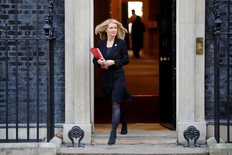 Britain's Work and Pensions Secretary Esther McVey leaves after attending the weekly meeting of the cabinet at 10 Downing Street in London on November 13, 2018. - Prime Minister Theresa May today faced her divided ministers as negotiators scrambled to secure a divorce agreement with the European Union and anxiety mounted over the risk of a no-deal Brexit. (Photo by Tolga AKMEN / AFP)