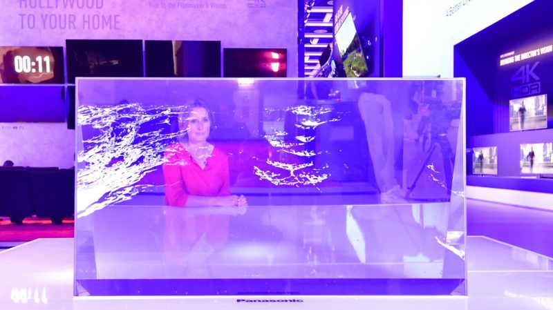 A transparent television set is presented at the booth of Panasonic at the IFA Consumer Electronics Fair in Berlin in Berlin on August 31, 2017. - The fair is open for the public from September 1 to 6, 2017. (Photo by TOBIAS SCHWARZ / AFP)