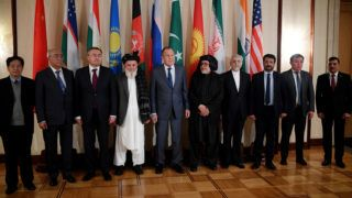 5693845 09.11.2018 Participants pose for a photo before the second round of Moscow format talks on the Afghan settlement, in Moscow, Russia, November 9, 2018.  Vladimir Astapkovich / Sputnik