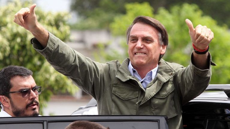 Jair Bolsonaro, presidential candidate for the Social Liberal Party, waves after voting during the presidential runoff election in Rio de Janeiro, Brazil, on October 28, 2018. Bolsonaro was elected with 55,13% of the votes. Leftist Fernando Haddad of the Workers' Party had 44,87%. Photo: FABIO MOTTA/ESTADAO CONTEUDO
