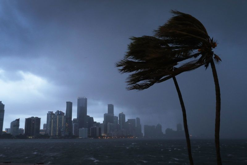 MIAMI, FL - SEPTEMBER 09: (One of a 115-image Best of Year 2017 set) The skyline is seen as the outerbands of Hurricane Irma start to reach Florida on September 9, 2017 in Miami, Florida. Florida is in the path of the Hurricane which may come ashore at category 4.   Joe Raedle/Getty Images/AFP