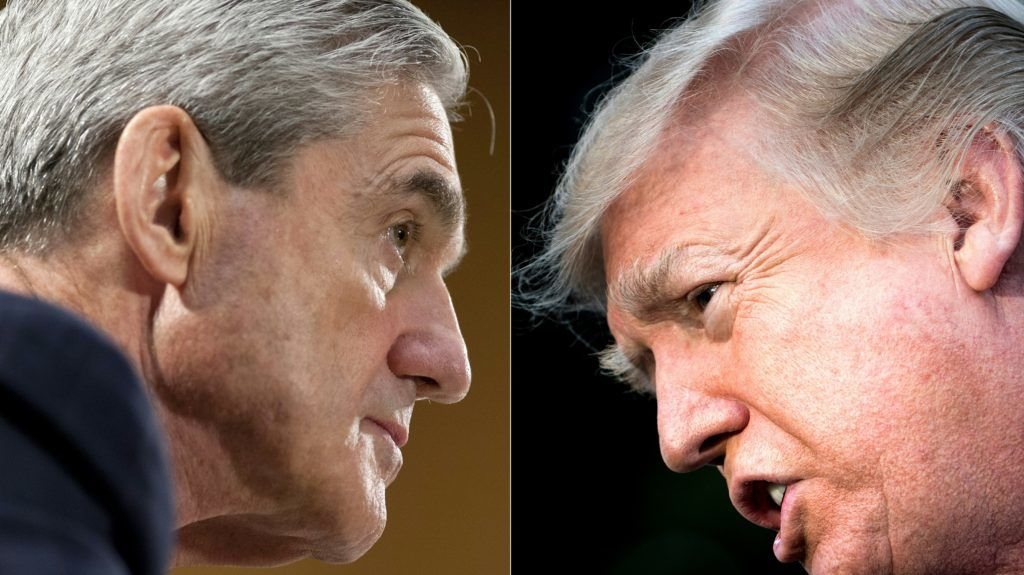 (COMBO) This combination of pictures created on January 8, 2018 shows files photos of FBI Director Robert Mueller (L) on June 19, 2013, in Washington, DC; and US President Donald Trump on December 15, 2017, in Washington, DC. - Donald Trump has transmitted on November 20, 2018, his written responses to questions by Special Counsel Robert Mueller, who is investigating Russian interference in the 2016 election that brought the president to office. (Photos by SAUL LOEB and Brendan Smialowski / AFP)