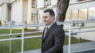 Macedonia's former Prime Minister and leader of opposition VMRO DPMNE Nikola Gruevski arrives at the court in Skopje on December 6, 2017. - ?Nikola Gruevski goes on trial for alleged abuse of power between 2012 and 2015. (Photo by Robert ATANASOVSKI / AFP)