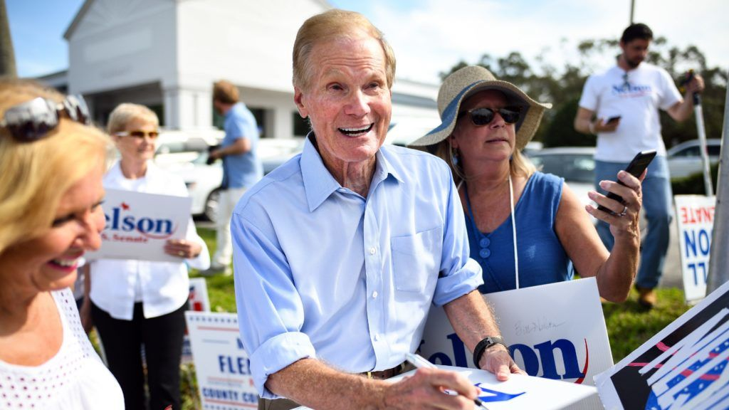 MELBOURNE, FLORIDA - NOVEMBER 05: Senator Bill Nelson (D-FL) attends an election sign waving event at US 1 at US 1 & Eau Gallie Boulevard during the final full day of campaigning in the midterm election on November 5, 2018 in Melbourne, Florida. Nelson is running against Republican Governor of Florida Rick Scott for the Florida Senate seat.   Jeff J Mitchell/Getty Images/AFP