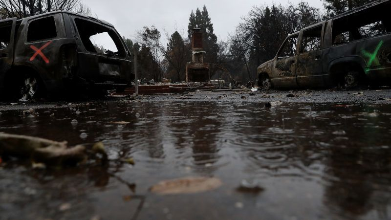 PARADISE, CA - NOVEMBER 22: Rain falls on a home destroyed by the Camp Fire on November 22, 2018 in Paradise, California. Fueled by high winds and low humidity the Camp Fire ripped through the town of Paradise charring over 150,000 acres, killed at least 84 people and has destroyed over 18,000 homes and businesses. The fire is currently at 85 percent containment and hundreds of people still remain missing.   Justin Sullivan/Getty Images/AFP