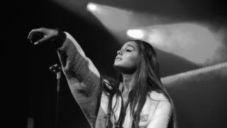 """NEW YORK, NY - AUGUST 20:  (EDITOR'S NOTE: Image has been converted to black and white) American Express and Ariana Grande present """"The Sweetener Sessions"""" at Irving Plaza on August 20, 2018 in New York City.  (Photo by Kevin Mazur/Getty Images for American Express)"""