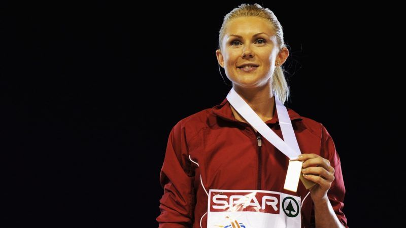 BARCELONA, SPAIN - JULY 28:  Ineta Radevica of Latvia receives the gold medal in the Womens Long Jump during day two of the 20th European Athletics Championships at the Olympic Stadium on July 28, 2010 in Barcelona, Spain.  (Photo by Jasper Juinen/Getty Images)
