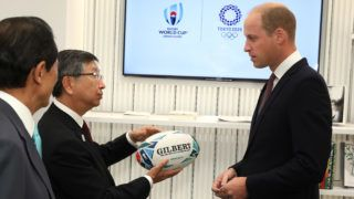 LONDON, ENGLAND - SEPTEMBER 13:  Prince William, Duke of Cambridge holds an official rugby ball for the Rugby World Cup 2019 during The Official Opening of Japan House London, the new Cultural Home of Japan in the UK on September 13, 2018 in London, England.  (Photo by Tim P. Whitby - WPA Pool/Getty Images)